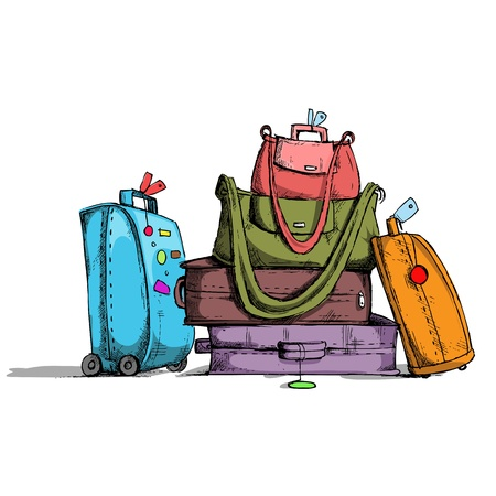 illustration of colorful luggage in retro style