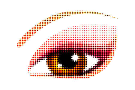 cornea: illustration of human eye in halftone style