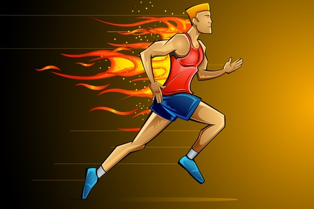 flammable: illustration of man running fast as fire flame