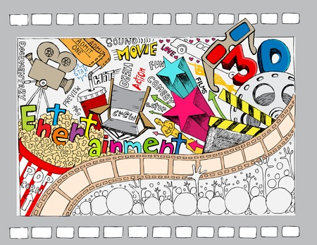 music production: illustration of different cinema object in doodle style