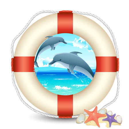 illustration of dolphin jumping in sea with lifebouy Vector