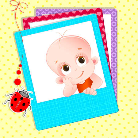 illustration of baby photograph with colorful frame Ilustrace