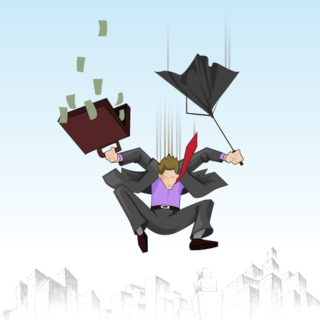 flying man: illustration of business man falling with umbrella and suitcase full of note