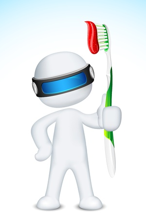 tooth brush: illustration of 3d doctor in vector fully scalable standing with tooth brush Illustration