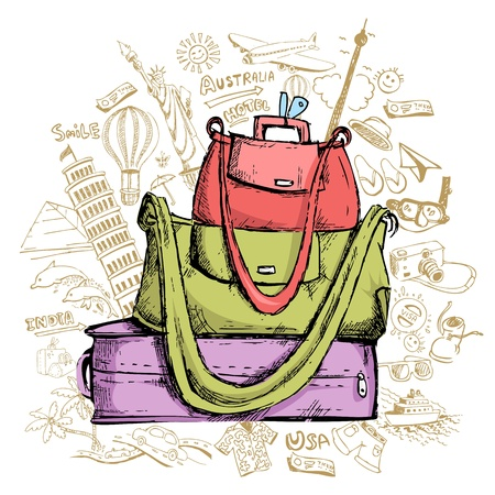 illustration of travel element doddle around luggage Stock Vector - 12763180