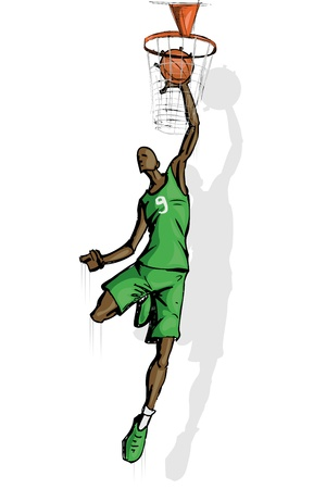 illustration of basket ball player jumping with ball Vector
