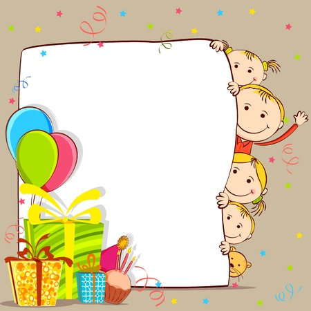 birthday party: illustration of kids peeping behind birthday card with gift and balloon
