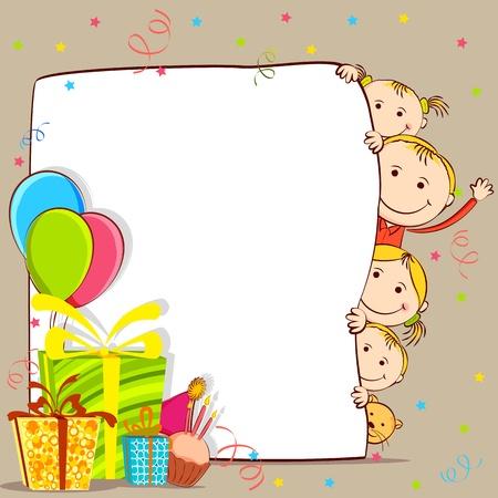felicitaciones de cumplea�os: ilustraci�n de los ni�os se asoman detr�s de tarjeta de cumplea�os con el regalo y el bal�n