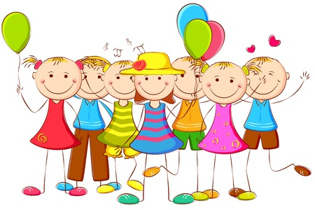 cartoon heart: illustration of happy kids standing with balloon