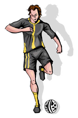 male feet: illustration of soccer player running with soccer ball
