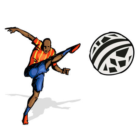 illustration of soccer player kicking soccer ball Stock Vector - 12763177