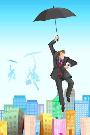illustration of businessman flying on umbrella on cityscape Vector