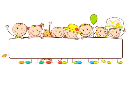 illustration of kids standing behid banner on white background
