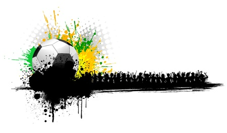 illustration of soccer ball on abstract grungy background with cheering crowd Stock Vector - 12763185