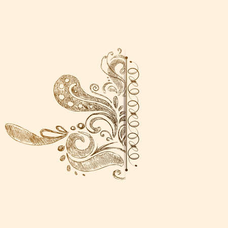 illustration of vintage floral background with copy space illustration