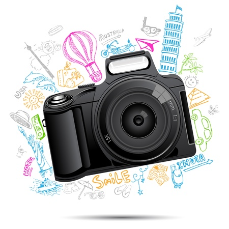 illustration of colorful travel doodle behind camera Vector