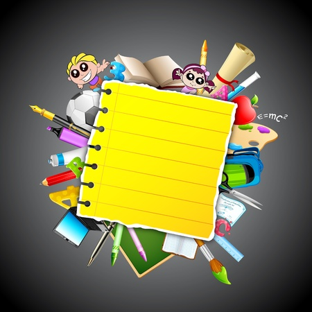 illustration of school object popping out behind paper Stock Illustration - 12763212