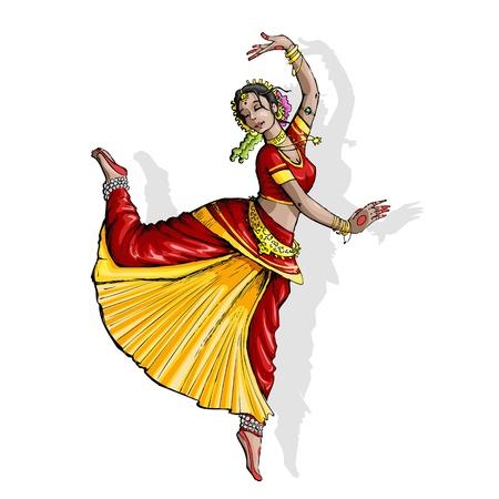 sari: ilustraci�n de la bailarina cl�sica de la India rendimiento bharatnatyam
