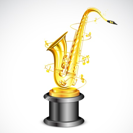 commendation: illustration of gold saxophone as music award