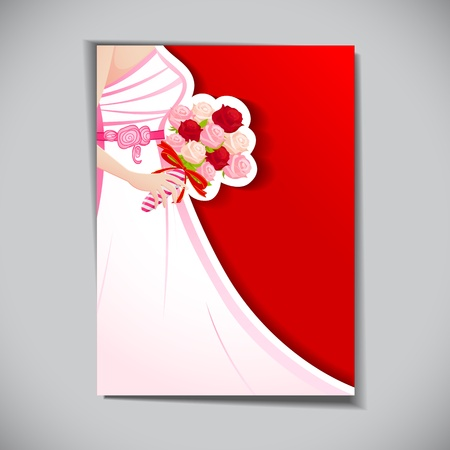 illustration of bride with rose bouquet in wedding card Vector