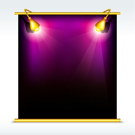 display board: illustration of blank display board with stand and focus light