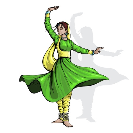 mudra: illustration of Indian classical dancer performing kathak Illustration