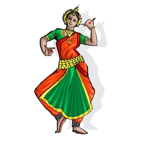 india culture: illustration of Indian classical dancer performing odissi Illustration