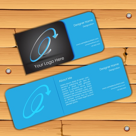visiting card design: illustration of front and back of colorful visiting card