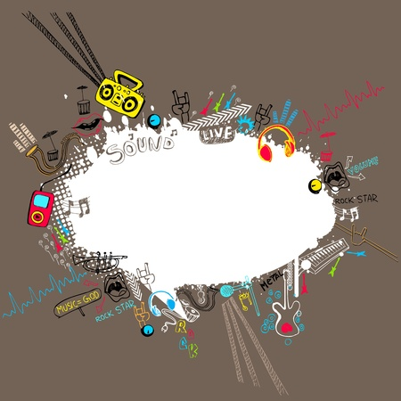 illustration of musical doodle around speech bubble Vector