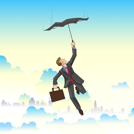 illustration of businessman flying on umbrella on cityscape Stock Vector - 12763187