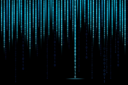 illustration of matrix style binary background with falling number Vector
