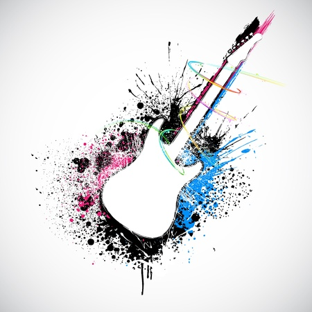 rock: illustration of guitar shape with colorful grungy splash