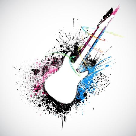 gitara: Ilustracja kształcie gitary z kolorowym plusk grungy