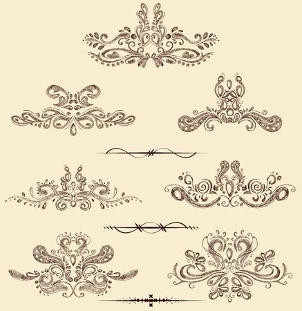 illustration of set of vintage design elements Stock Illustration - 12763221