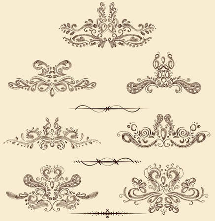 illustration of set of vintage design elements Stock Illustration - 12763221
