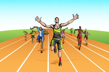 illustration of winneramonf many runner running on track