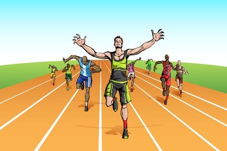 athlete running: illustration of winneramonf many runner running on track