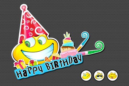 illustration of smiley face with birthday cap and balloon illustration