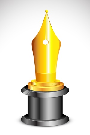 illustration of academic award with golden pen nib Vector