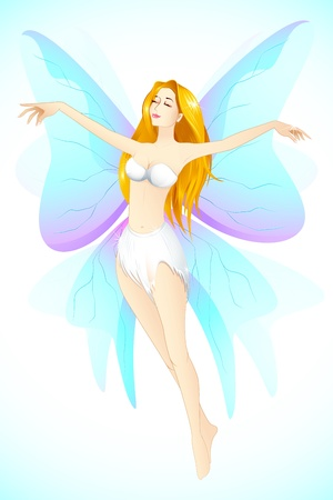 illustration of female angel flying in sky with wings Vector