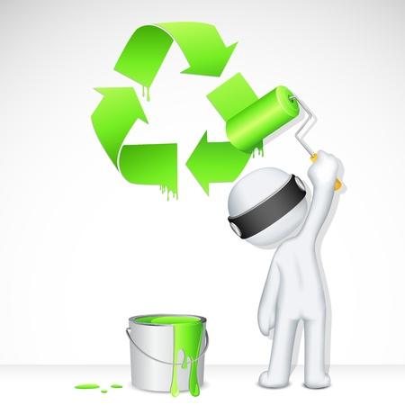 conciencia ambiental: 3d ilustraci�n del hombre en el vector de la pintura totalmente escalable s�mbolo de reciclaje
