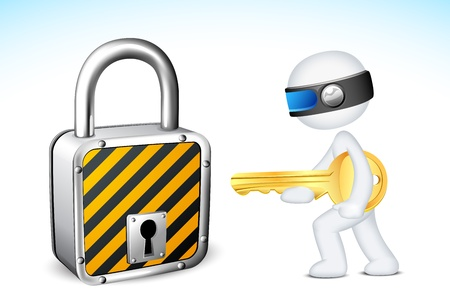 illustration of 3d man in fully scalable vector with lock and key Vector