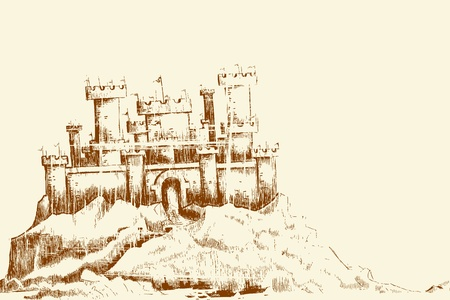 fortification: illustration of sketch of castle in vintage style Illustration