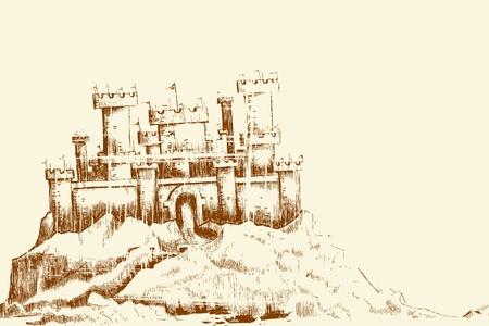 ビンテージ スタイルの城のスケッチ図