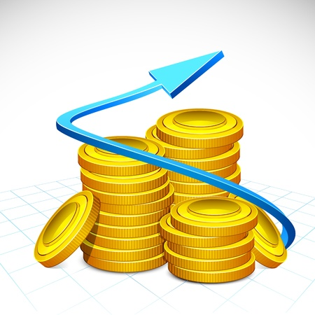 illustration of arrow around stack of gold coin Vector