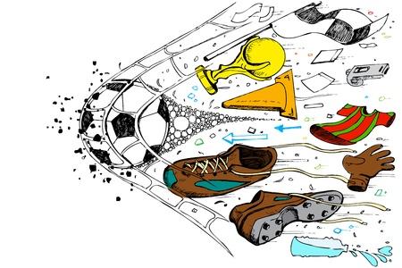 football shoes: illustration of doodle of soccer element in goal net