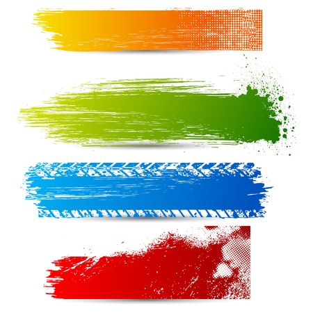 grungy header: illustration of set of colorful grungy banner Stock Photo