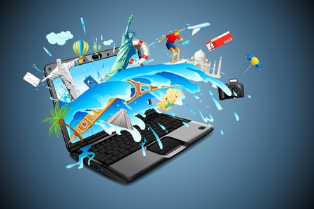 illustration of world famous monuments with travel element in splash of water from laptop