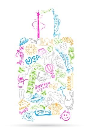여행: 여행 요소의 그림은 가방의 모양에 doddle를