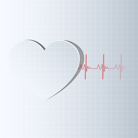 elettrocardiogramma: illustrazione della linea di vita che esce dal ritaglio cuore Vettoriali